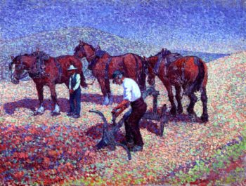 Ploughing on the Downs | Robert Bevan | oil painting