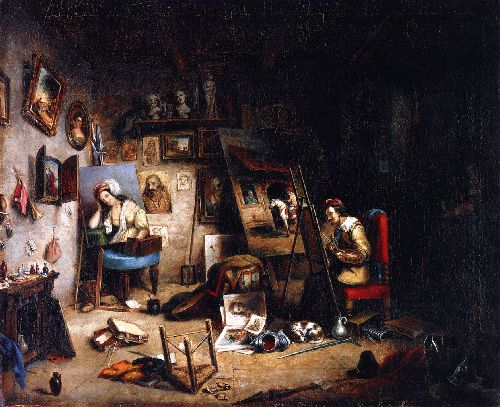The Artists Studio | Cornelius Krieghoff | oil painting