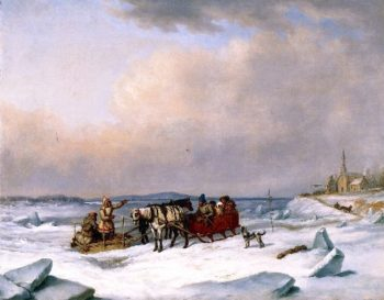 The Ice Bridge at Longue Pointe | Cornelius Krieghoff | oil painting