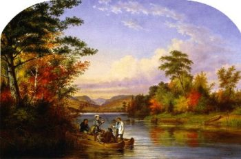 The Narrows on Lake St Charles | Cornelius Krieghoff | oil painting