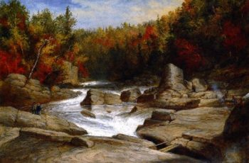 The St Anne Falls near Quebec from Above and Looking Upward | Cornelius Krieghoff | oil painting