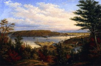 View of Quebec from the Grand Trunk Railway Station at Pointe Levis | Cornelius Krieghoff | oil painting