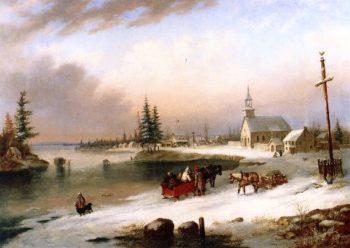Village Scene in Winter | Cornelius Krieghoff | oil painting