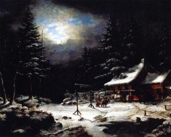 White Horse Inn by Moonlight | Cornelius Krieghoff | oil painting