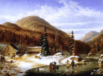Winter Scene in the Laurentians The Laval River | Cornelius Krieghoff | oil painting