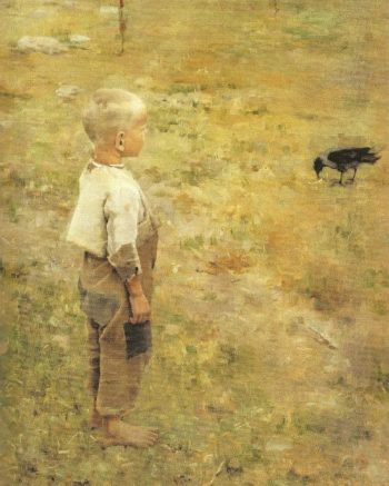 Boy with a Crow | Akseli Gallen Kallela | oil painting