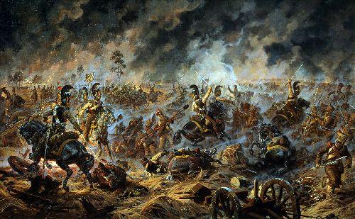 Battle for Shevardino redoubt August 24 5 September 1812 Attack of the Little Russian Kirasirsky Regiment   Alexander Averyanov   oil painting