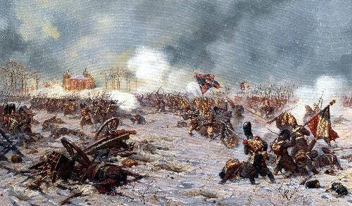 Battle of Eylau January 27 8 February 1807 Attack of the Moscow Regiment | Alexander Averyanov | oil painting