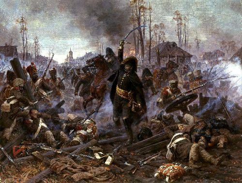Division General A J Delsons in the battle for Maloyaroslavets 12 24 October 1812 | Alexander Averyanov | oil painting