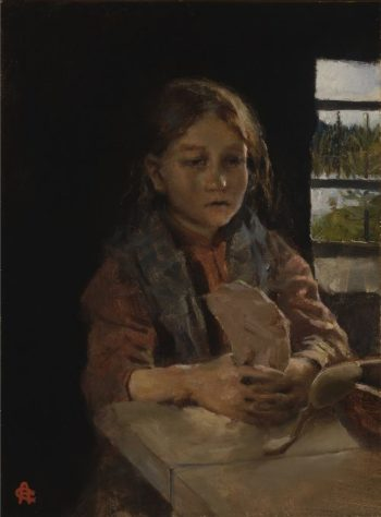 Girl Singing the Bark Bread Song | Akseli Gallen Kallela | oil painting