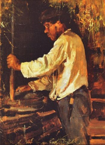 Grinding with a Quern | Akseli Gallen Kallela | oil painting