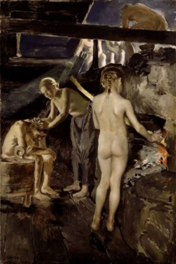 In the sauna | Akseli Gallen Kallela | oil painting