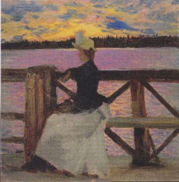 Marie Gallen at the Kuhmoniemi bridge | Akseli Gallen Kallela | oil painting
