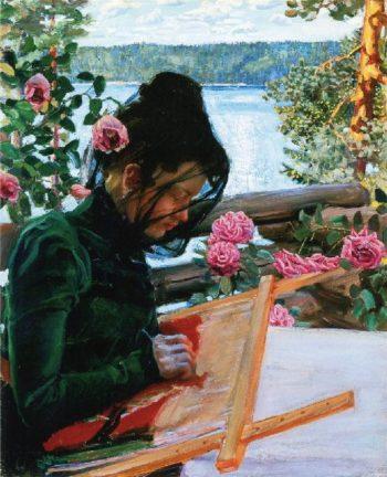 Marie stickend in Kalela | Akseli Gallen Kallela | oil painting