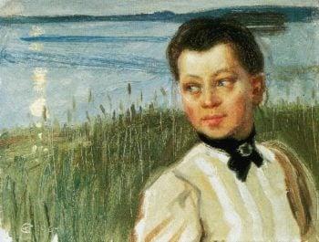 Mary Gallen on the Lakeshore at Lintula | Akseli Gallen Kallela | oil painting