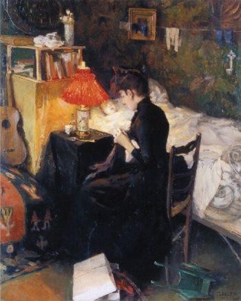 Mother with Sick Child   Akseli Gallen Kallela   oil painting