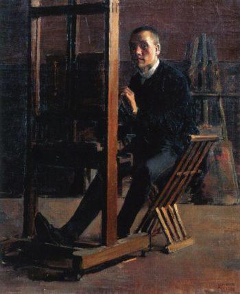 Self Portrait at the Easel | Akseli Gallen Kallela | oil painting