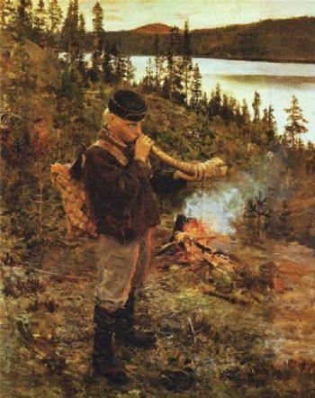 Shepherd Boy from Paanajarvi | Akseli Gallen Kallela | oil painting