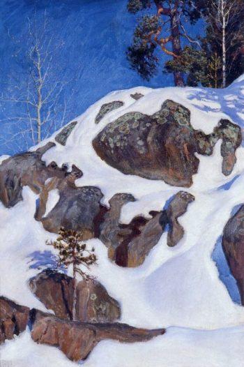 Snow Covered Cliffs at Kalela | Akseli Gallen Kallela | oil painting