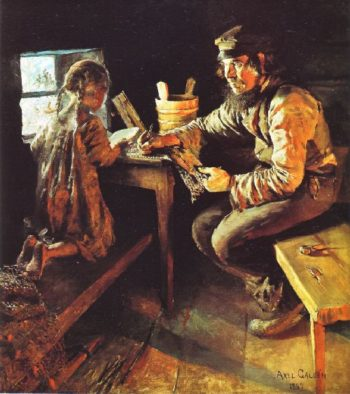 The First Lesson | Akseli Gallen Kallela | oil painting