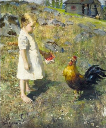 The girl and the rooster | Akseli Gallen Kallela | oil painting