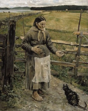 The Old Woman and the Cat | Akseli Gallen Kallela | oil painting