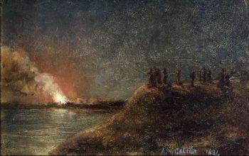 Tulipalon katselijat pitkansillan rannassa | Akseli Gallen Kallela | oil painting