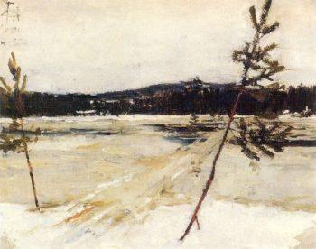 Viittatie jaalla | Akseli Gallen Kallela | oil painting