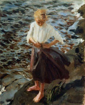 Windswept Girl | Akseli Gallen Kallela | oil painting