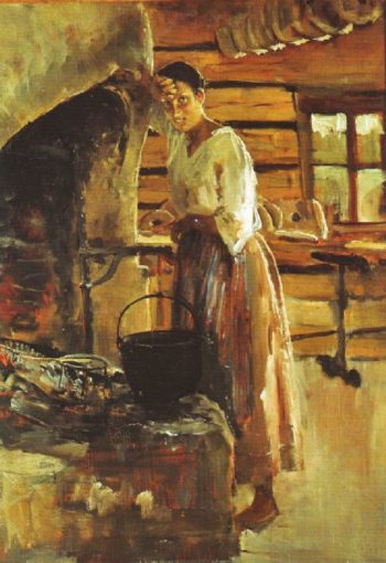 Woman Cooking Vendace | Akseli Gallen Kallela | oil painting