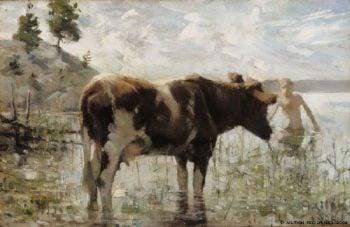 Cow and Boy | Akseli Gallen Kallela | oil painting