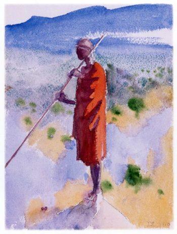 Kikuyu in a Red Cloak | Akseli Gallen Kallela | oil painting