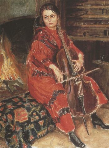 Kirsti playing the cello | Akseli Gallen Kallela | oil painting