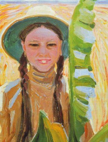 Kirsti with Banana Leaves | Akseli Gallen Kallela | oil painting