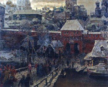 Moscow middle of XVII century Moskvoretsky Bridge and the Water Gate 1900   Apollinaris M Vasnetsov   oil painting