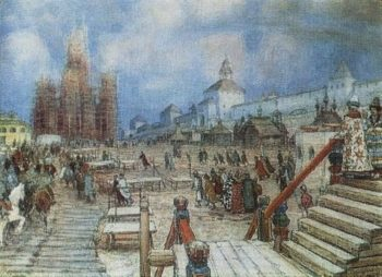 Moscow under Ivan the Terrible Red Square 1902   Apollinaris M Vasnetsov   oil painting