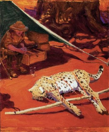 Self Portrait with Cheetah | Akseli Gallen Kallela | oil painting