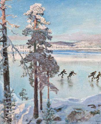 Skaters near the Shore of Kalela | Akseli Gallen Kallela | oil painting