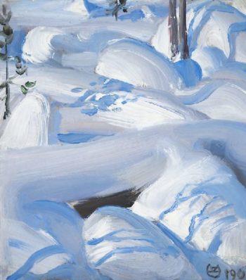 Snow covered rocks | Akseli Gallen Kallela | oil painting
