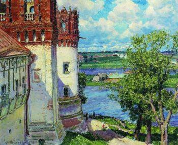 Novodevichy Monastery Tower 1926   Apollinaris M Vasnetsov   oil painting
