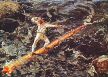 The Log Floater | Akseli Gallen Kallela | oil painting