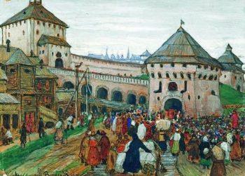 old Moscow 1896   Apollinaris M Vasnetsov   oil painting