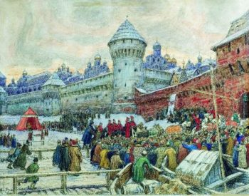 old Moscow Check with fisticuffs 1900 e   Apollinaris M Vasnetsov   oil painting