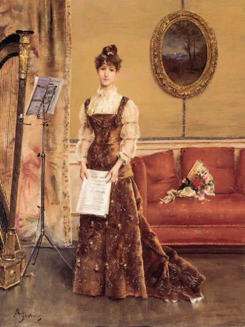 Lady with a Harp | Alfred Stevens | oil painting