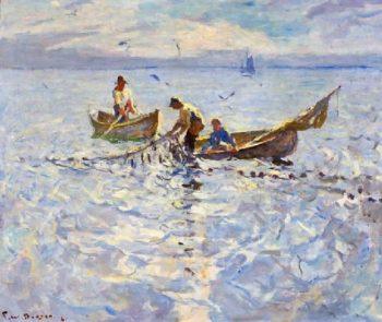 Dory Fishermen   Frank W Benson   oil painting