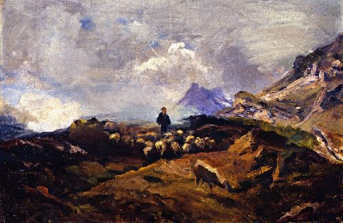 Alpine Landscape with Flock of Sheep | Franz Marc | oil painting
