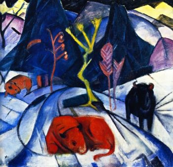 Bison in Winter | Franz Marc | oil painting