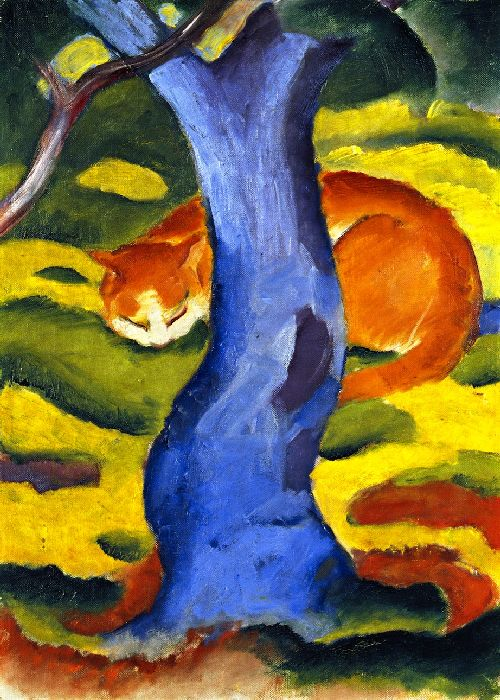 Cat behind a Tree | Franz Marc | oil painting