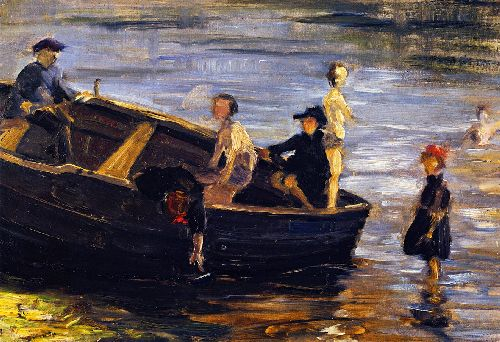 Children on a Boat   Franz Marc   oil painting