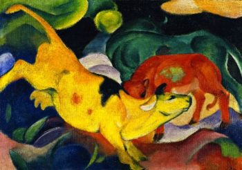 Cows Red Green Yellow | Franz Marc | oil painting